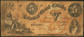 Canadian Currency: , Toronto, CW- Colonial Bank of Canada $5 May. 4, 1859 Ch. # 130-10-02-10. ...