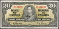 Canadian Currency: , BC-25e $20 1937. ...