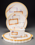Ceramics & Porcelain, Continental:Other , A Group of Four Spritzdekor Art Deco Ceramic Table Items, circa1930. Marks: (various marks). 13 inches wide (33.0 cm) (cake...(Total: 4 Items)