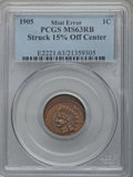 Errors, 1905 1C Indian Cent -- Struck 15% Off Center -- MS63 Red and Brown PCGS....
