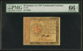 Colonial Notes:Continental Congress Issues, Continental Currency January 14, 1779 $2 PMG Gem Uncirculated 66 EPQ.. ...