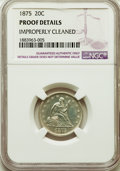 Proof Twenty Cent Pieces, 1875 20C -- Improperly Cleaned -- NGC Details Proof. NGC Census: (4/186). PCGS Population: (11/281). CDN: $1,000 Whsle. Bid...
