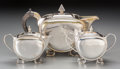 Silver Holloware, Continental:Holloware, A Three-Piece Art Deco Silver-Plated Tea Service, 20th century.Marks: (various marks). 6-1/4 inches high (15.9 cm) (tallest...(Total: 3 Items)