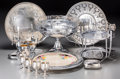 Silver Holloware, Continental, Eight Silver-Plated and Glass Tablewares, 20th century. 7-3/8inches high (18.7 cm) (tallest). ... (Total: 8 Items)