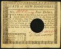 Colonial Notes:New Hampshire, New Hampshire April 29, 1780 $4 Very Fine, HOC.. ...