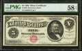 Large Size:Silver Certificates, Fr. 260 $5 1886 Silver Certificate PMG Choice About Unc 58 EPQ.....