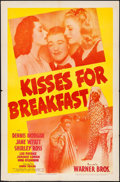 """Movie Posters:Comedy, Kisses for Breakfast (Warner Brothers, 1941). One Sheet (27"""" X 41""""). Comedy.. ..."""