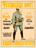 "Movie Posters:War, German Propaganda (Nauck & Hartmann, 1919). Poster (28.5"" X37.5"") ""Volunteers Step Forward."" Hans Schweitzer Artwork.. ..."