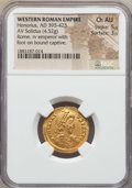 Ancients:Roman Imperial, Ancients: Honorius (AD 393-423). AV solidus (4.52 gm). NGC ChoiceAU 5/5 - 3/5....