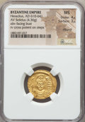 Ancients:Byzantine, Ancients: Heraclius (610-641). AV solidus (4.36 gm). NGC MS 4/5 -3/5, clipped....