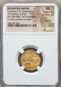 Ancients:Byzantine, Ancients: Constans II & Constantine IV (654-668). AV solidus(4.33 gm). NGC MS 4/5 - 4/5, clipped....