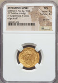 Ancients:Byzantine, Ancients: Justinian I (527-565). AV solidus (4.44 gm). NGC MS 4/5 -4/5, die shift....