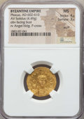 Ancients:Byzantine, Ancients: Phocas (602-610). AV solidus (4.49 gm). NGC MS 4/5 - 3/5,scuff....