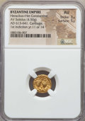 Ancients:Byzantine, Ancients: Heraclius & Heraclius Constantine (613-641). AVsolidus (4.50 gm). NGC AU 3/5 - 5/5....