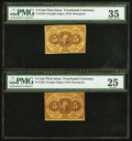Fractional Currency:First Issue, Fr. 1230 5¢ First Issue PMG Choice Very Fine 35.. Fr. 1230 5¢ First Issue PMG Very Fine 25.. ... (Total: 2 notes)