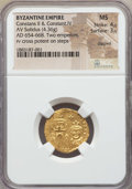 Ancients:Byzantine, Ancients: Constans II & Constantine IV (654-668). AV solidus(4.36 gm). NGC MS 4/5 - 3/5, clipped....
