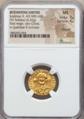 Ancients:Byzantine, Ancients: Justinian II (685-695). AV solidus (4.32 gm). NGC MS 3/5- 4/5, clipped....