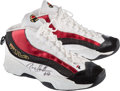 Basketball Collectibles:Others, 1998-2002 Jerry Stackhouse Game Worn, Signed Detroit Pistons Sneakers. ...