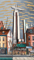, Glenn O. Coleman (American, 1887-1932). The Empire StateBuilding. Oil on canvas. 84 x 48-1/2 inches (213.4 x 123.2cm)...