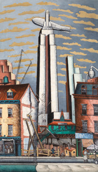 Glenn O. Coleman (American, 1887-1932) The Empire State Building Oil on canvas 84 x 48-1/2 inches