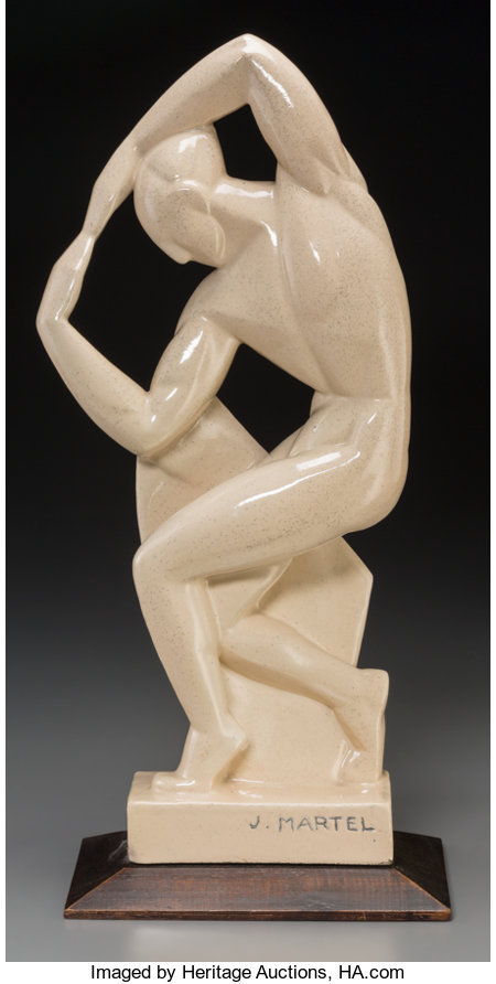 Jan and Joel Martel (French, 1896-1966) Le Danseur Malkovsky, 1925 Glazed earthenware 19 inches (48.3 cm) high on a 1...