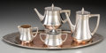 Silver Holloware, Continental, A Four-Piece WMF Early Art Deco Silver-Plated Tea and CoffeeService with Associated Tray, Geislingen, Germany, circa 1900-1...(Total: 5 Items)