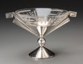Decorative Arts, Continental, An Art Deco Stenciled Glass and Silver-Plated Compote Centerpiece,first half 20th century. 8 x 12-3/4 x 9-5/8 inches (20.3 ...