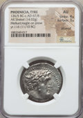 Ancients:Greek, Ancients: PHOENICIA. Tyre. Ca. 126/5 BC-AD 58/9. AR shekel (14.02gm). NGC AU 4/5 - 3/5, brushed....