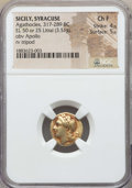 Ancients:Greek, Ancients: SICILY. Syracuse. Agathocles (317-289 BC). EL 50 or 25litrae or hemistater (3.51 gm). NGC Choice Fine 4/5 - 5/5....