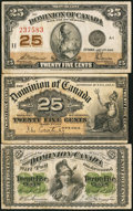 Canadian Currency: , DC-1c 25¢ 1870;. DC-15a 25¢ 1900;. DC-24c 25¢ 1923.. ... (Total: 3notes)