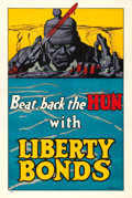 "Movie Posters:War, World War I Propaganda (U.S. Government Printing Office, 1918).Liberty Bonds Poster (20"" X 30"") ""Beat Back the Hun."" Freder..."