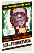"Movie Posters:Horror, Son of Frankenstein (Realart, R-1953). One Sheet (27"" X 41"").. ..."