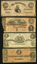 Confederate Notes:Group Lots, Group of Four Confederate Treasury Note Types 36, 66, 69, and 70.. ... (Total: 4 notes)