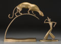 Decorative Arts, Continental, Two Bronze Figures: Perched Panther, Flamenco Dancer, 20th century.15-1/2 inches high (39.4 cm) (larger). ...