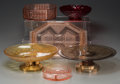 Decorative Arts, Continental, Six Various Clear, Colored and Frosted Glass Tablewares, 20thcentury. 4-3/8 inches high x 13-1/2 inches diameter (11.1 x 34...(Total: 6 Items)