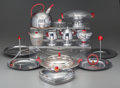 Decorative Arts, Continental, Thirteen Assorted Art Deco Chromed Metal and Glass Tablewares, 20thcentury. 6-1/2 inches high (16.5 cm) (tallest, teapot). ... (Total:13 Items)