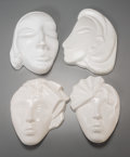 Decorative Arts, Continental, Four Art Deco White Ceramic Female Wall Plaques, 20th century.9-3/8 inches high (23.8 cm) (tallest). ... (Total: 4 Items)