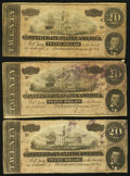Confederate Notes:Group Lots, T67 $20 1864 Four Examples.. ... (Total: 4 notes)