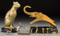 Decorative Arts, Continental:Other , Nine Assorted Animal Form Desk Items, 20th century. Marks: (variousmarks). 8-5/8 inches high (21.9 cm) (tallest, resin cat)... (Total:9 Items)