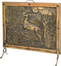 Decorative Arts, Continental, An Art Deco Repoussé Brass and Wood Firescreen with Antelope Motif,circa 1930. 25 h x 26-1/2 w inches (63.5 x 67.3 cm). ...