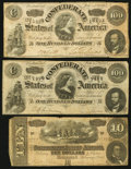 Confederate Notes:Group Lots, Group of Six 1864 Confederate Treasury Notes- $1(2); $10(2);$100(2). ... (Total: 6 notes)