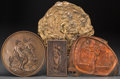 Decorative Arts, Continental, Four Art Nouveau and Neoclassical Gilt Bronze, Patinated Bronze,and Copper-Plated Plaques. 12-1/2 inches diameter (31.8 cm)...(Total: 2 Items)