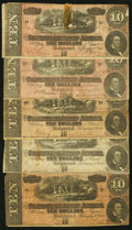 Confederate Notes:Group Lots, T68 $10 1864 Six Examples.. ... (Total: 6 notes)