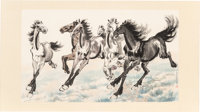 After Xu Beihong (Chinese, 1895-1953) Galloping Horses Ink and watercolor on paper 11 x 18-7/8 in