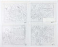 Animation Art:Production Drawing, Disney Activity Book - Mickey Mouse, Donald Duck, and GoofyDrawings Group of 7 (Walt Disney, c. 1990s)....