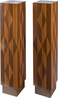 Furniture , A Pair of Art Deco-Style Parquetry Pedestals, late 20th century. 43-1/4 h x 9-1/8 w x 9-1/8 d inches (109.9 x 23.2 x 23.2 cm... (Total: 2 Items)