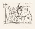Prints:European Modern, Pablo Picasso (1881-1973). Man Viewing Couple in Horse DrawnCarriage, from Séries 347, 1968. Etching on wovepaper...