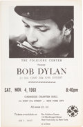 Music Memorabilia:Posters, Bob Dylan Carnegie Chapter Hall Concert Program/Handbill (FolkloreCenter Presents,1961). Rare.. ...