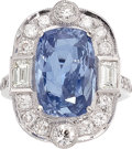 Estate Jewelry:Rings, Ceylon Sapphire, Diamond, White Gold Ring. ...