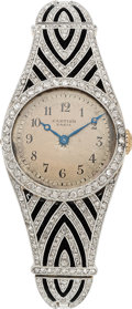 Estate Jewelry:Watches, Art Deco Swiss Lady's Diamond, Platinum-Topped Gold Watch. ...